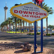 R.i.p. Back Of The Welcome To Downtown Las Vegas Sign Day Art Print