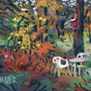 Backyard In Autumn Art Print by Donald Maier