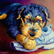 Bad Puppy Airedale Terrier Print by Lyn Cook