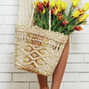 Bag With A Bouquet Of Tulips Art Print