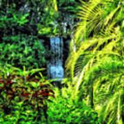 Bahamas - Tropical Waterfall Art Print