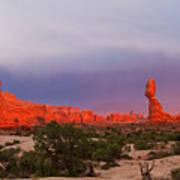 Balance Rock At Sunset, Arches National Park, Utah Usa Art Print