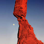 Balanced Rock And Moon Print by William Gillam