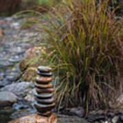 Balancing Zen Stones In Countryside River V Art Print