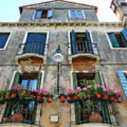 Balcony With Flowers In Venice, Italy Art Print