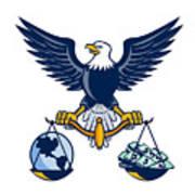 Bald Eagle Hold Scales Earth Money Retro Art Print