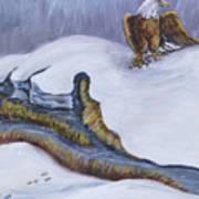 Bald Eagle On Snowdrift Wildlife Vignette Art Print