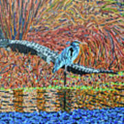 Bald Head Island, Gator, Blue Heron Art Print
