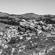 Bald Mountain Rock Formation In Black And White Art Print