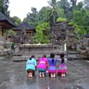 Bali Temple Women Bowing Art Print