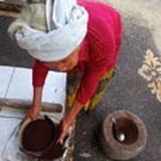 Balinese Lady Sifting Coffee Art Print