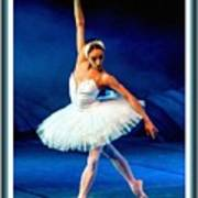 Ballerina On Stage L B With Decorative Ornate Printed Frame. Art Print