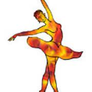 Ballerina Silhouette Dancing Fire Art Print