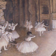 Ballet Rehearsal On The Stage Art Print