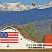 Balloon Barn And Mountains Art Print