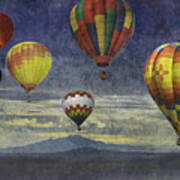 Balloons Over Sister Mountains Art Print