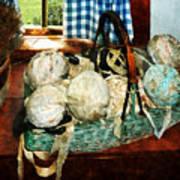 Balls Of Cloth Strips In Basket Art Print