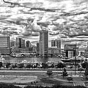 Baltimore Inner Harbor Dramatic Clouds Panorama In Black And White Art Print