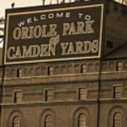 Baltimore Orioles Park At Camden Yards Sepia Art Print