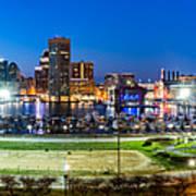Baltimore Skyline Panorama At Dusk Art Print