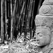 Bamboo Landscape  Statue Asian  Art Print