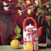 Bamboo Teapot With Lemons Art Print