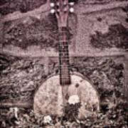 Banjo Mandolin On Garden Wall Art Print