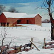 Bankbarn In The Snow Art Print