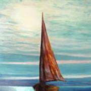 Barca Al Chiar Di Luna Art Print