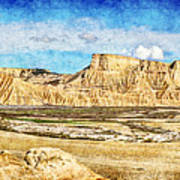 Bardenas Desert Panorama 3 - Vintage Version Art Print