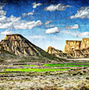Bardenas Desert Panorama 4 - Vintage Version Art Print