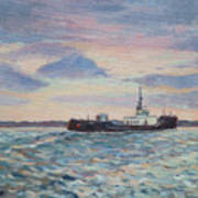 Barge On Port Phillip Bay Art Print