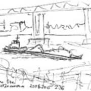barge under Kanavinsky Bridge. 21 August, 2015 Art Print