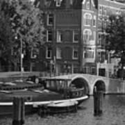 Barges By The Bridge Art Print