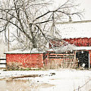 Barn And Pond Art Print