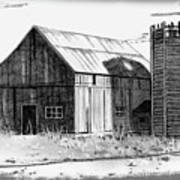 Barn And Silo Distressed Version Art Print