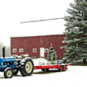 Barn And Tractor Holiday Scene Art Print