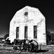 Barn And Tractor In Black And White Art Print