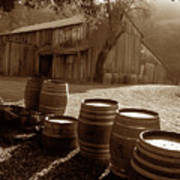 Barn And Wine Barrels 2 Art Print by Kathy Yates