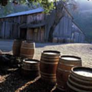 Barn And Wine Barrels Print by Kathy Yates