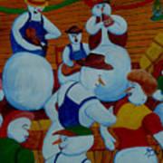 Barn Dancing Snowmen Art Print
