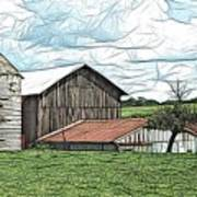 Barn Landscape Colored Pencil Chicken Scratch Effect Art Print