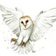Barn Owl Flying Watercolor Art Print