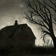 Barn Sillouette Art Print by Bryan Baumeister