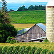 Barn Silo And Crops In Nys Expressionistic Effect Art Print