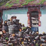 Barn With Log Pile Art Print