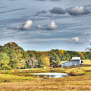 Barns And Pond On A Fall Day Art Print