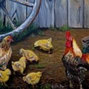 Barnyard Chickens Art Print
