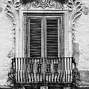Baroque Balcony Window. Messina, Sicily.    Black And White Art Print