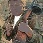 Barry Sadler With Machine Gun On His Shoulder Tucson Arizona 1971-2015 Art Print